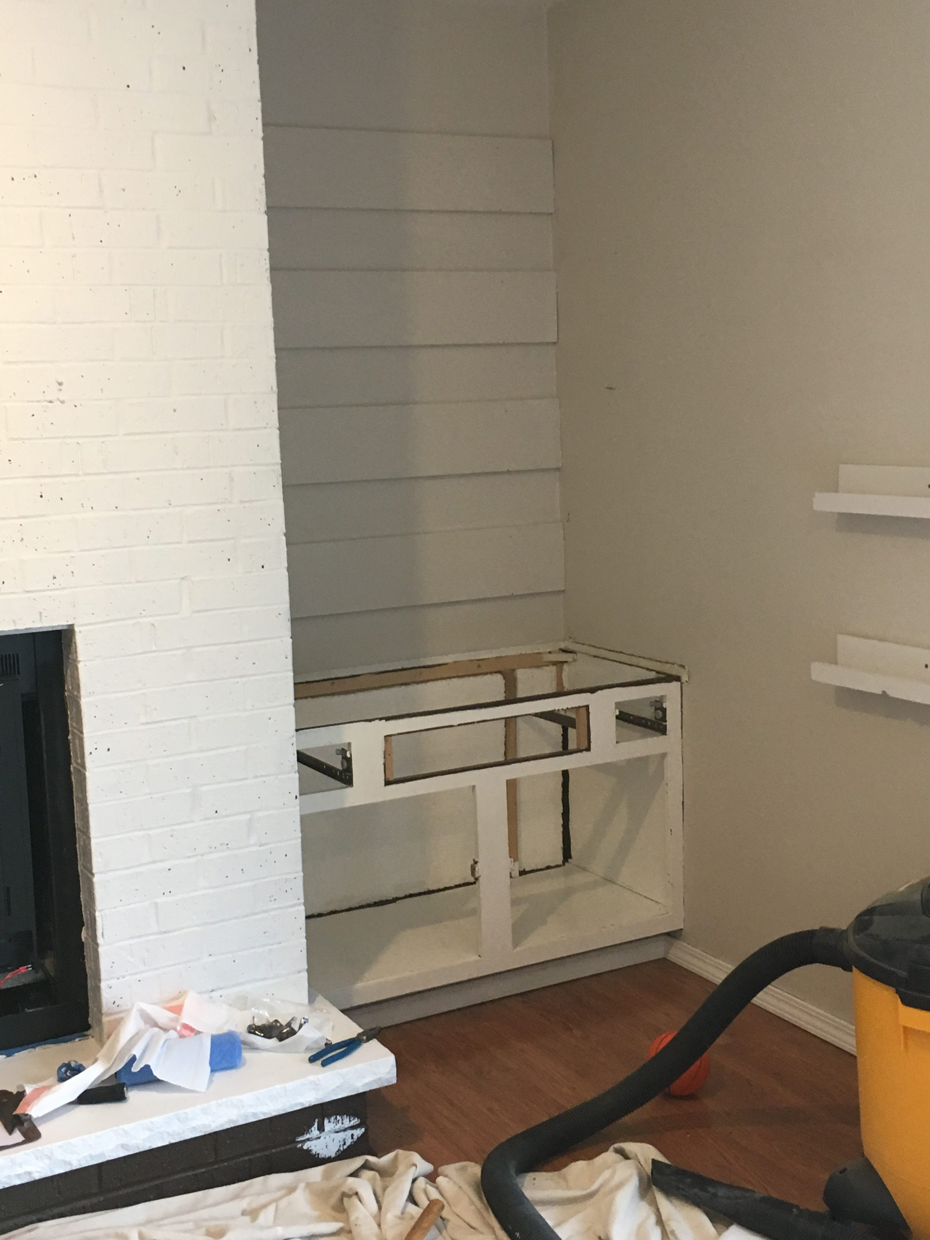 How to Make Custom Built-in Shelves Next to the Fireplace